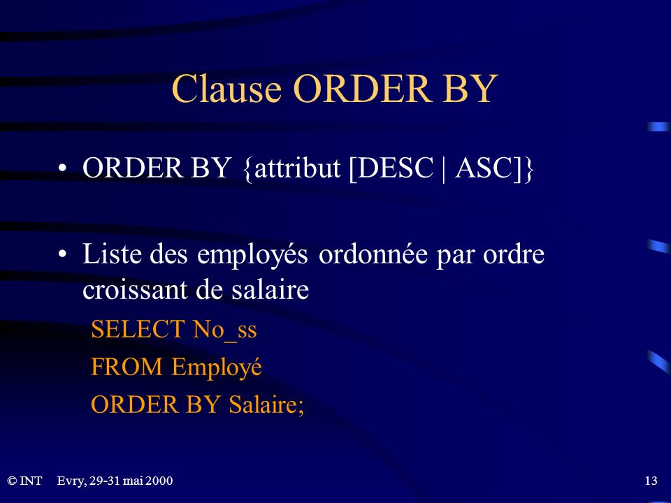 Clause ORDER BY ORDER BY {attribut [DESC | ASC]}